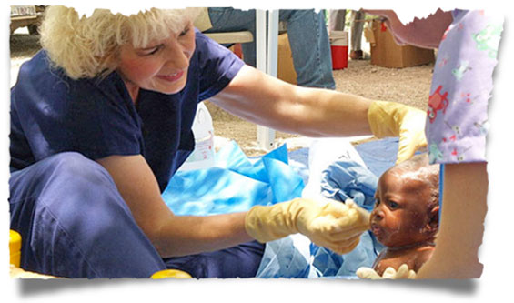Sherry Burnette with a mobile medical team in Haiti