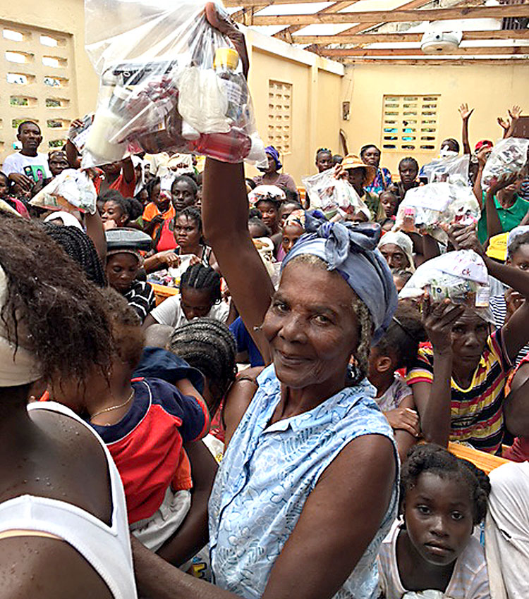 Disaster relief for the poor Haitians in Port Salut, Haiti.