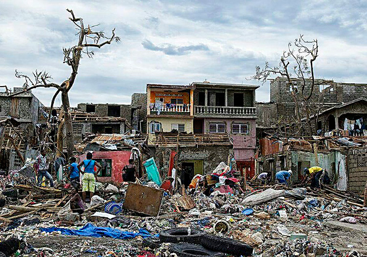 Hurricane destruction in Haiti