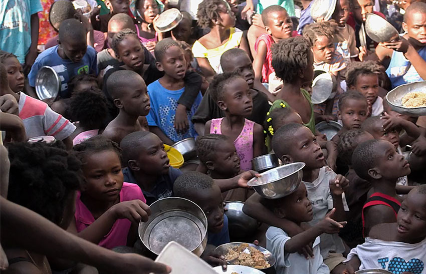 Children starving because of the food crisis in Haiti.