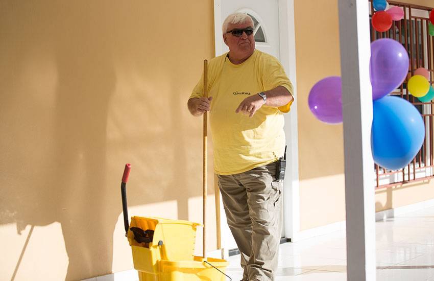 Mark Ostrander was adding some finishing touches on the new orphanage for Madamn Adeline.