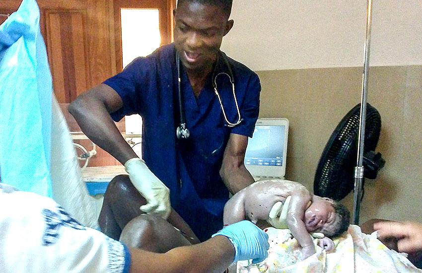 Surprise birth at the Jesus Healing Center.