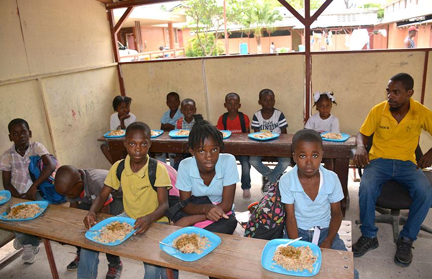 Feeding the orphan children.
