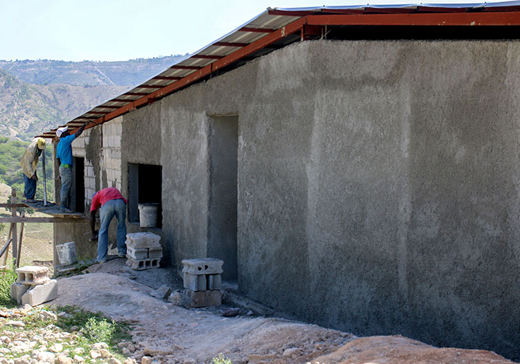New school construction in Savaan Pit.