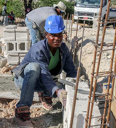 Construction crew in Haiti.