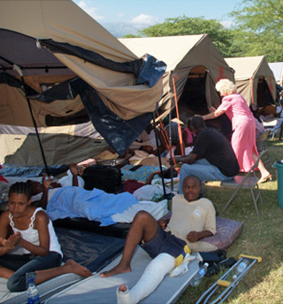 Earthquake Relief in Haiti - Fond Parisien Disaster Recovery Camp Set Up at Love A Child