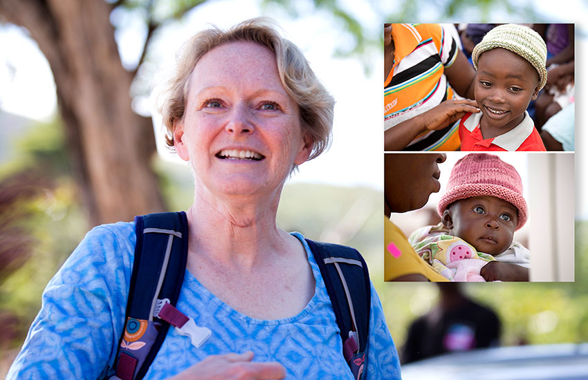 Dr. Pat has knitted caps for the babies and children in the Mobile Medical Clinic.