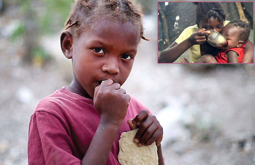 "In many areas of Haiti, children are eating ""mud cookies"" to fill the hunger in their stomachs."