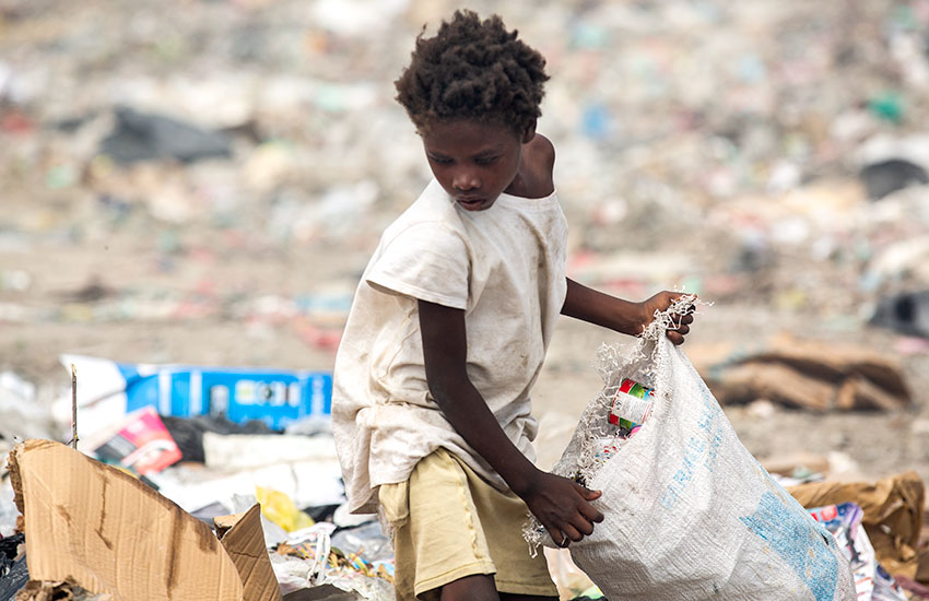 "In the Truttier garbage dump, hundreds of little children depend on the ""rotten food"" they find, or they depend on something ""thrown away"" to sell."
