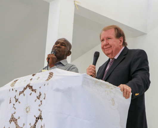 Bobby Burnette preaching at Love A Child Church in Fond Parisien, Haiti